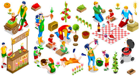 tree farming: Farmer Man and Kids Planting Tree. 3D Isometric People Country Family Icon Set. Outdoor Family Bbq Party. Child Market Stand Display Fruit and Vegetables. Farming Vector Illustration Illustration