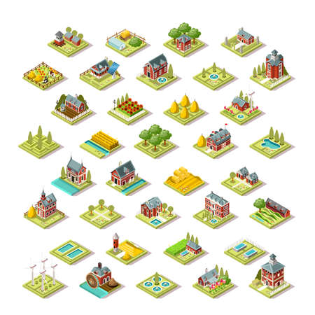 Isometric farm house building stuff farming agriculture scene 3D icon set collection vector illustration Illustration