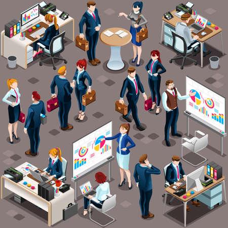 İzometrik insanlar toplantı personelini infografik olarak izole etti. 3D İzometrik patron kişi simgesi ayarlayın. Yaratıcı tasarım vektör illüstrasyon koleksiyonu Stok Fotoğraf - 73210521