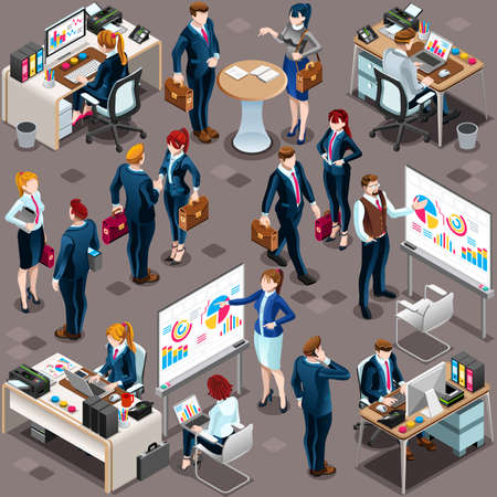 Isometric people isolated meeting staff infographic. 3D Isometric boss person icon set. Creative design vector illustration collection Stock Vector - 73210521