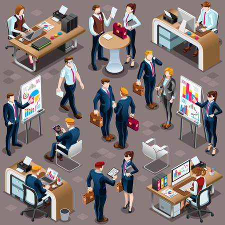 Moda grupo isométrica 3D de la gente de negocios aislados banco. establece empleado icono de carácter personal de recepción. Entrevista y análisis de acuerdo acuerdo de venta y asociación. El trabajo en equipo ilustración vectorial carrera