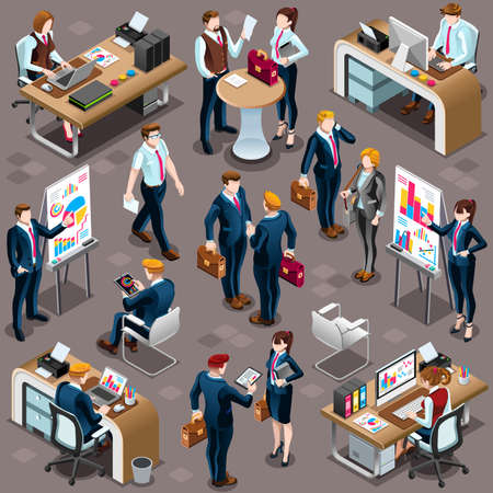 lead: Trendy 3D isometric group of isolated bank business people. Employee desk staff character icon set. Interview and Analysis of sales deal agreement and partnership. Teamwork career vector illustration Illustration