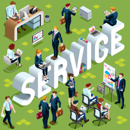 people: Service Group of Diverse Isometric Business People. 3D meeting infograph crowd with standing walking casual people icon set. Conference handshake hand shake lot collection vector illustration