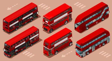 빨간 버스 격리 된 이중 decker 런던 영국 영국 아이소 메트릭 차량 아이콘을 설정합니다. 3D 평면 벡터 일러스트 레이션