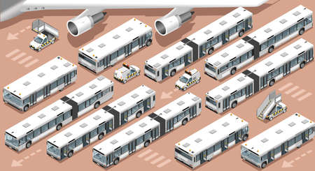 Isometric airport terminal airfield transfer bus shuttle. 3D vehicle icon set isometric stairs and follow me isolated white car vector illustration