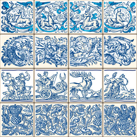 Indigo Blue Flower Azulejos Pattern Lisbon Set Paint Tile Floor Oriental Spain Collection Seamless Pattern Portugal Geometric Ceramic Design Tile Vintage Illustration background Vector Texture Pattern