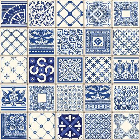 인디고 블루 꽃 줄레 패턴 리스본 설정 페인트 타일 바닥 동양 스페인 컬렉션 원활한 패턴 포르투갈 기하학적 세라믹 디자인 타일 빈티지 그림 배경 벡 일러스트
