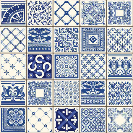 Indigo Blue Flower Azulejos Pattern Lisbon Set Paint Tile Floor Oriental Spain Collection Seamless Pattern Portugal Geometric Ceramic Design Tile Vintage Illustration background Vector Texture Pattern