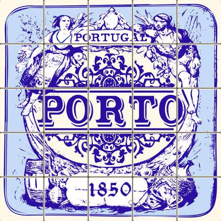Indigo Blue Azulejos Pattern Porto Set Paint Tile Floor Oriental Spain Collection Seamless Pattern Portugal Geometric Ceramic Design Tile Vintage Illustration background Vector Texture Pattern Banco de Imagens - 75573217