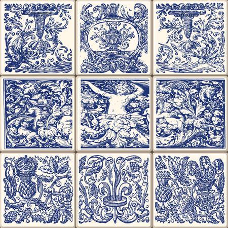 Indigo Blue Flower Azulejos Pattern Lisbon Set Paint Tile Floor Oriental Spain Collection Seamless Pattern Portugal Geometric Ceramic Design Tile Vintage Illustration background Vector Texture Pattern Banco de Imagens - 75573108