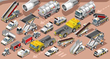 等尺性空港ターミナル飛行場車貨物車バン トラック。3 D アイコン セット等尺性分離白サービス車と荷物転送ベクトル図