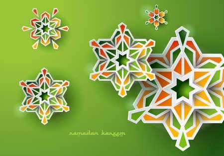 Paper graphic of islamic geometric art. Ramadan Kareem background with Islamic decorations.
