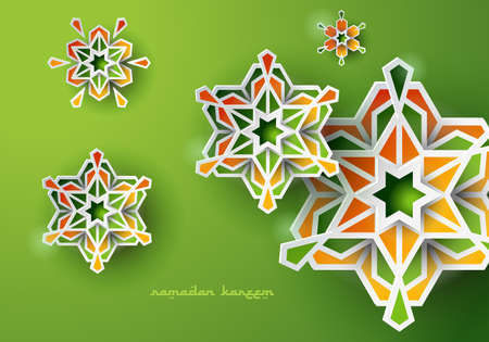 Paper graphic of islamic geometric art. Ramadan Kareem background with Islamic decorations. Illustration