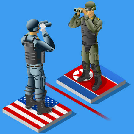 Vector illustration of North Korea soldier against USA US soldier. Crisis of Korea international relations Ilustração