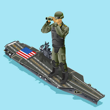 Watching soldier over aircraft carrier of American army US navy. Isometric design vector illustration