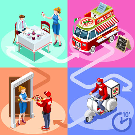 Pizza take away food truck and white car or van for fast home delivery vector infographic. Isometric people delivery man processing online order at the client customer door