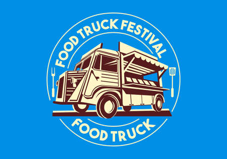 Food truck logotype for delivery service business or food festival. Vector Logo