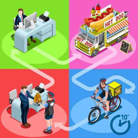 De hotdog haalt voedselvrachtwagen en witte auto of bestelwagen voor de snelle vector infographic van de bezorgingslevering weg. Isometrische mensen levering man verwerking online bestelling bij de deur van de klant van de klant