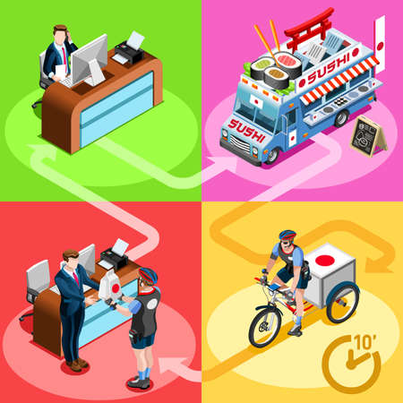 Sushi take away Japanese food truck and white car or van for fast home delivery vector infographic. Isometric people delivery man processing online order at the client customer door
