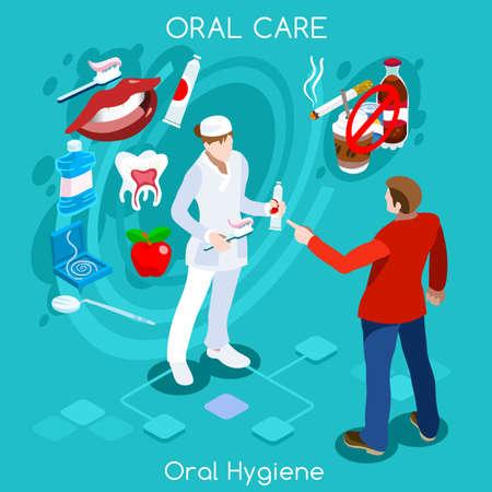 Tandprobleemconcept met beeldverhaalkarakter van tandartsvrouw. Gezondheidszorg gezondheid elementen infographic vector isometrische ontwerp illustratie