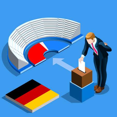 독일 선거 투표 개념 독일 남자 아이소 메트릭 투표 상자에서 종이 퍼 팅. 아이소 메트릭 사람들 벡터 디자인 일러스트