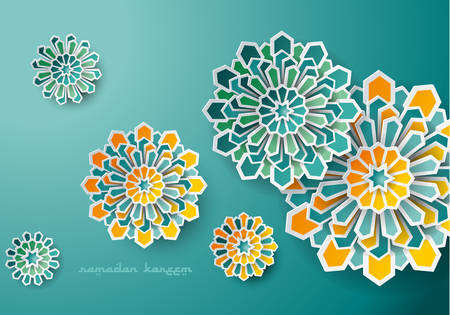 Paper graphic of islamic geometric art. Ramadan Kareem background with Islamic decorations. Ilustração