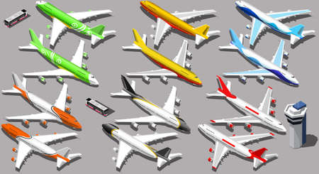 Vector isometric aeroplane isolated icons 3D aircraft with planes and shuttle bus Иллюстрация