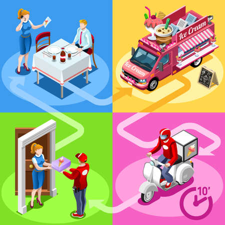 carretto gelati: Ice Cream take away food truck and white car or van for fast home delivery vector infographic. Isometric people delivery man processing online order at the client customer door Vettoriali