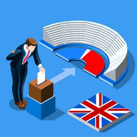영국 선거 투표 개념 영어 남자 아이소 메트릭 투표 용지 상자에 용지를 퍼팅. 아이소 메트릭 사람들 벡터 디자인
