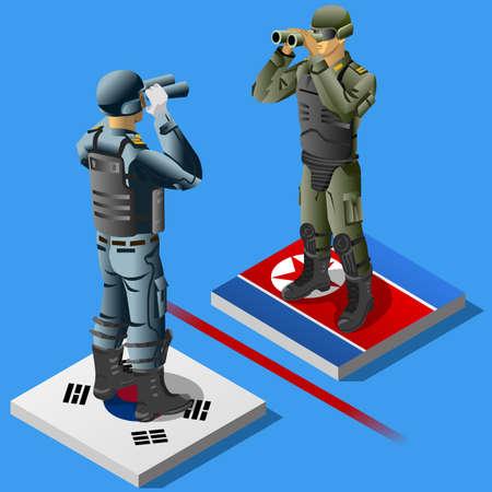 Ilustración vectorial del soldado de Corea del Norte contra el soldado de Corea del Sur. Crisis de las relaciones de Corea Foto de archivo - 78786543