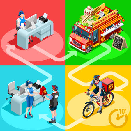 Chinese Restaurant take away food truck and white car or van for fast home delivery vector infographic. Isometric people delivery man processing online order at the client customer door Illustration