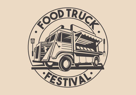 Food truck logotype for restaurant delivery service or food festival. Vector Logo