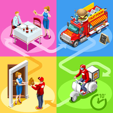 Take away fast food truck and white car or van for hamburger fast home delivery vector infographic. Isometric people delivery man processing online order at the client customer door Imagens - 78786552