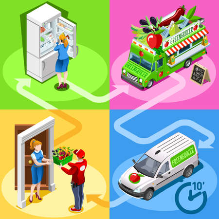 greengrocer: Greengrocer take away food truck and white car or van for vegetable fast home delivery vector infographic. Isometric people delivery man processing online order at the client customer door