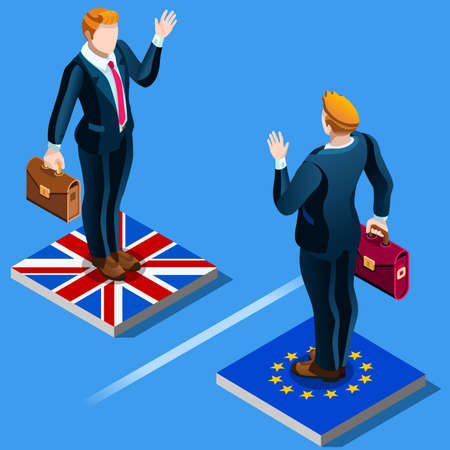 UK United Kingdom Brexit from the EU European Union infographics. Vector EU and British flags icons. Voting result Political crisis concept. infographic elements  イラスト・ベクター素材