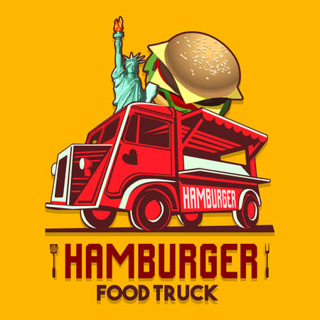 Food truck logotype for usa us american hamburger burger restaurant fast delivery service or food festival. Truck van with hamburger advertise ads vector logo Illustration