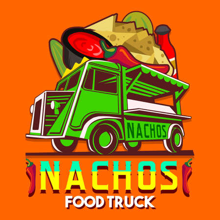 Food truck for Mexican nachos chili pepper fast delivery service or summer food festival. Truck van with nachos an chili pepper advertise ads vector Illustration