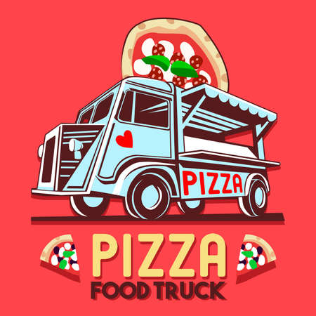 Food truck logotype for Pizza fast delivery service or food festival. Truck van with pizza advertise ads vector logo