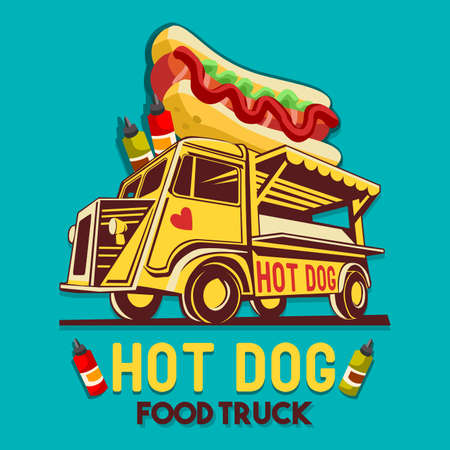 Food truck logotype for Hot Dog fast delivery service or food festival. Truck van with advertise ads vector logo