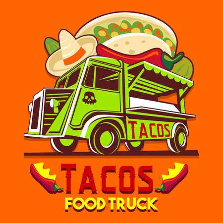Logotipo de camión de comida para servicio de entrega rápida de comida mexicana de taco o festival de comida de verano. Camioneta con comida mexicana anuncia anuncios vector logo
