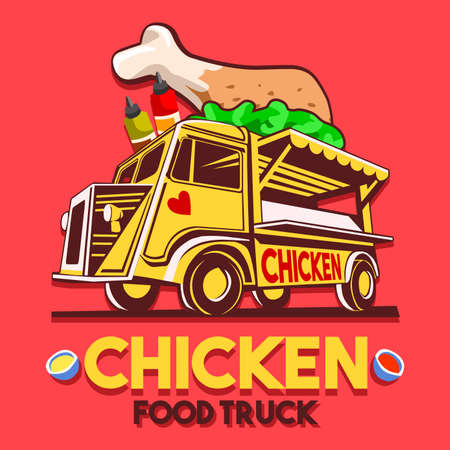 fried food: Food truck for crispy fried chicken wings fast delivery service or summer food festival. Truck van with fried chicken wings advertise ads vector Illustration