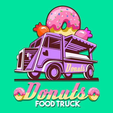 Food truck  for pink donut sweets shop chain fast delivery service or food festival. Truck van with strawberry glazed donut advertise ads vector