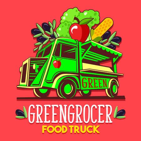 Voedselvrachtwagen voor de organische groentehandelaar van de fruitgroenteverkoper de leveringsdienst of het festival van het de zomervoedsel. Vrachtwagenbusje met groenten en fruit adverteren advertenties vector Stockfoto - 79027462