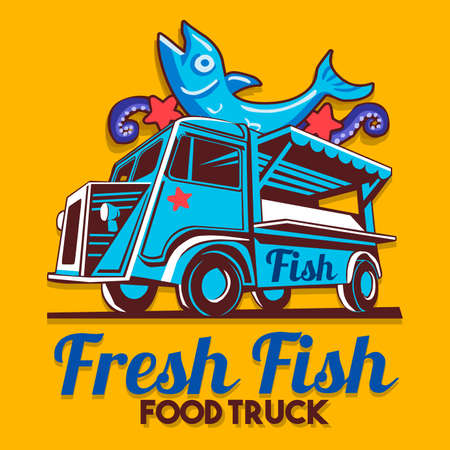 Food truck logotype for fish shop fishmonger fast delivery service or food festival. Truck van with advertise ads vector logo Illustration