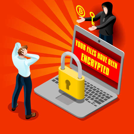 Ransomware malware wannacry 기호 사이버 공격 개념 컴퓨터 감염 infographic. 벡터 일러스트 레이 션 3D 평면 아이소 메트릭 현실적인 상세한 사람들과