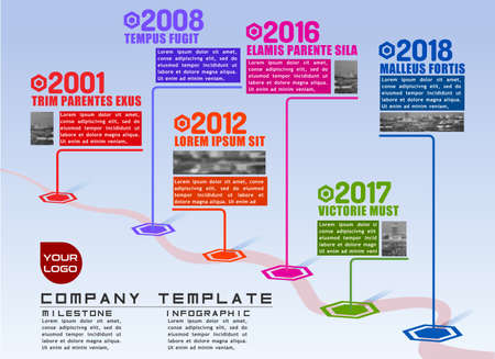 Company milestones path vector infographic plot template for presentations. Flat realistic 3D illustration Illustration