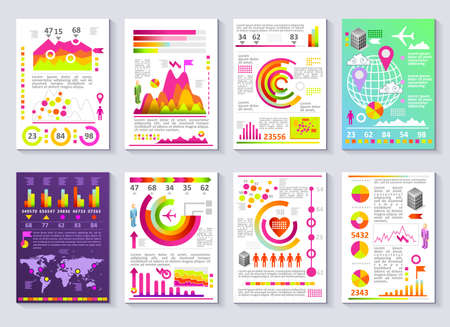 Graphical business company report vector set of templates. Flat 3D modern style charts and graphs detailed illustration Ilustrace