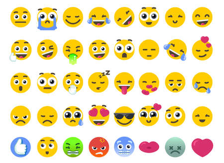 Emoji set of isolated on white vector emoticons stickers. Happy face or like icon as symbol of community chat emotions. Flat design Illustration