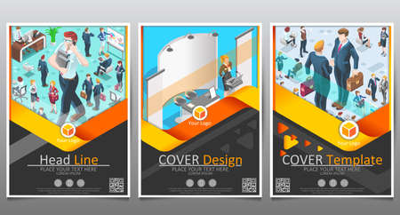 Vector business template set. Brochure layout cover modern design annual report poster A4 flyer with geometric shapes and illustration of 3D flat isometric realistic detailed people Illustration