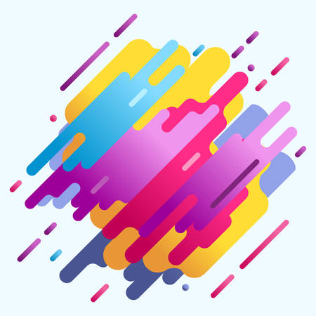 Neon design vector retro 80s media element for poster background flat pink yellow violet spots detailed illustration